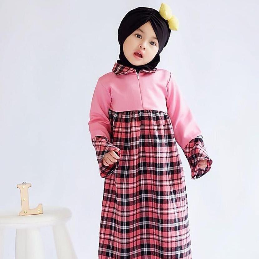 baju gamis anak flanel tanpa kerudung 3 sd 7 tahun