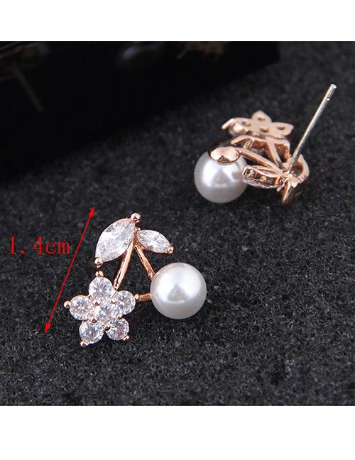 LRC Anting tusuk Fashion Color Cherry Shape Decorated Earrings - 3 .