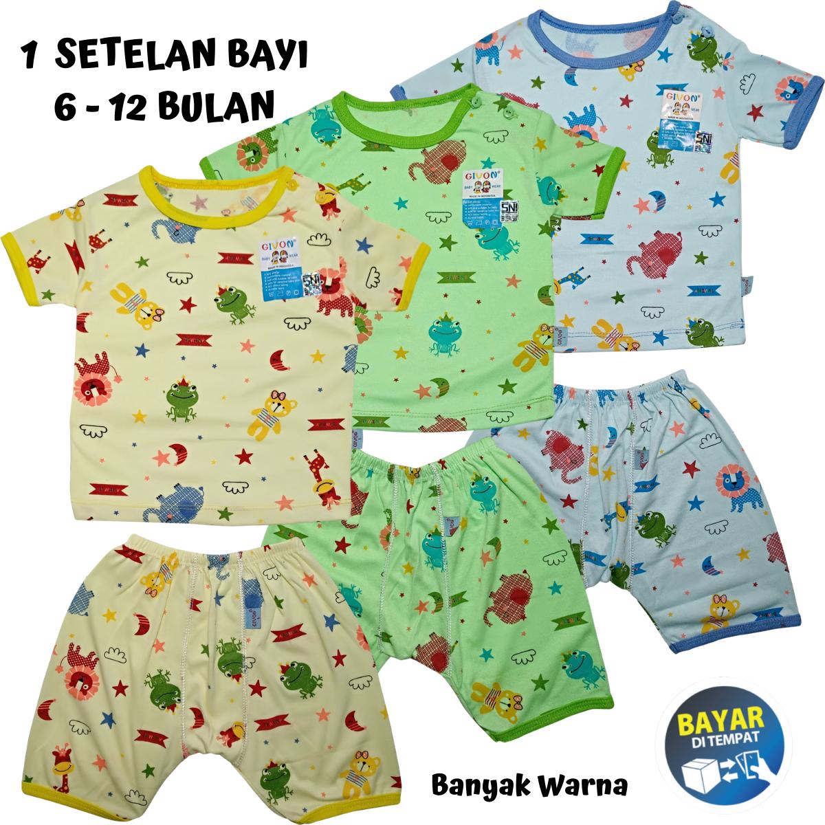 setelan baju bayi / setelan bayi 6-12 bulan warna motif givon katun premium – kaos lengan pendek celana pendek
