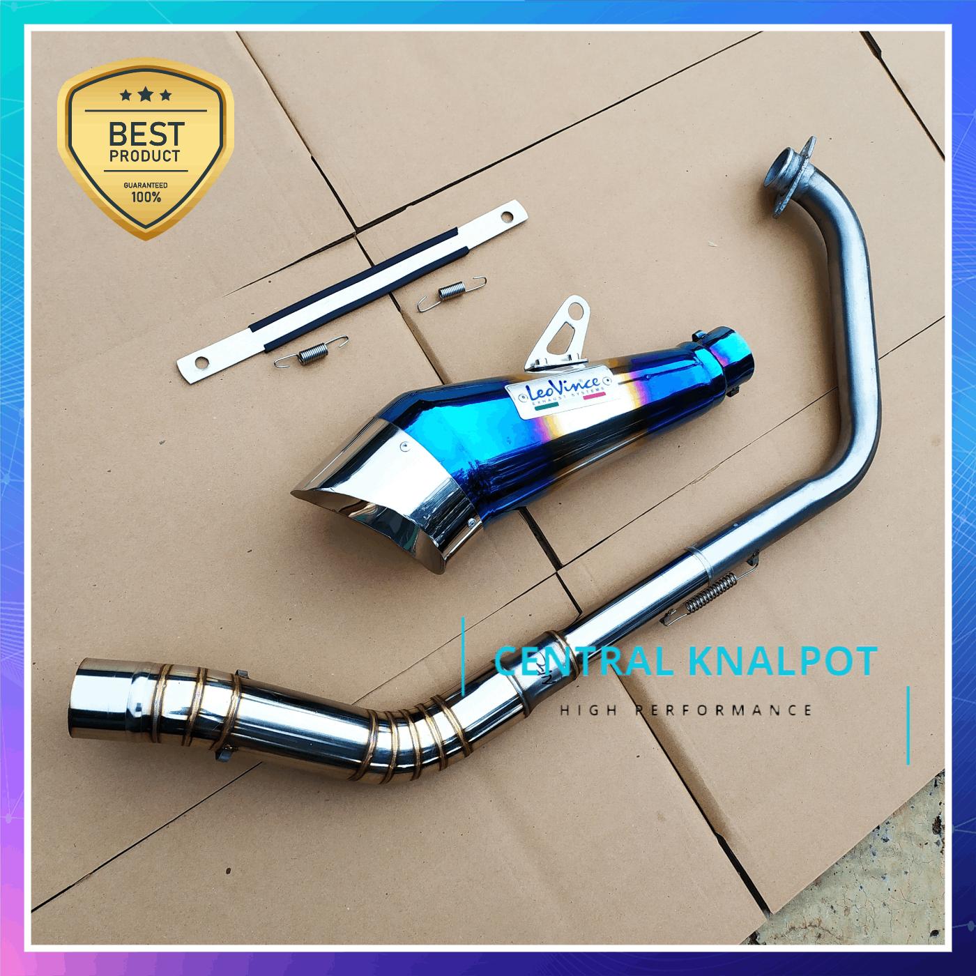 terlaris knalpot racing vixion/leovince/knalpot sonic/vixion/cbr 150r/cb150r/r15 v3/r15 v2/gsxr150/leovince cobra half blue