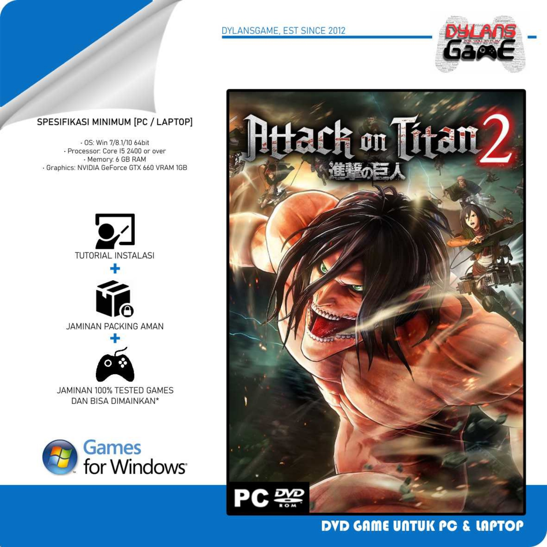 attack on titan 2 final battle pc game dvd game pc laptop