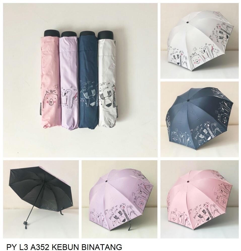 payung lipat 3 motif binatang warna random