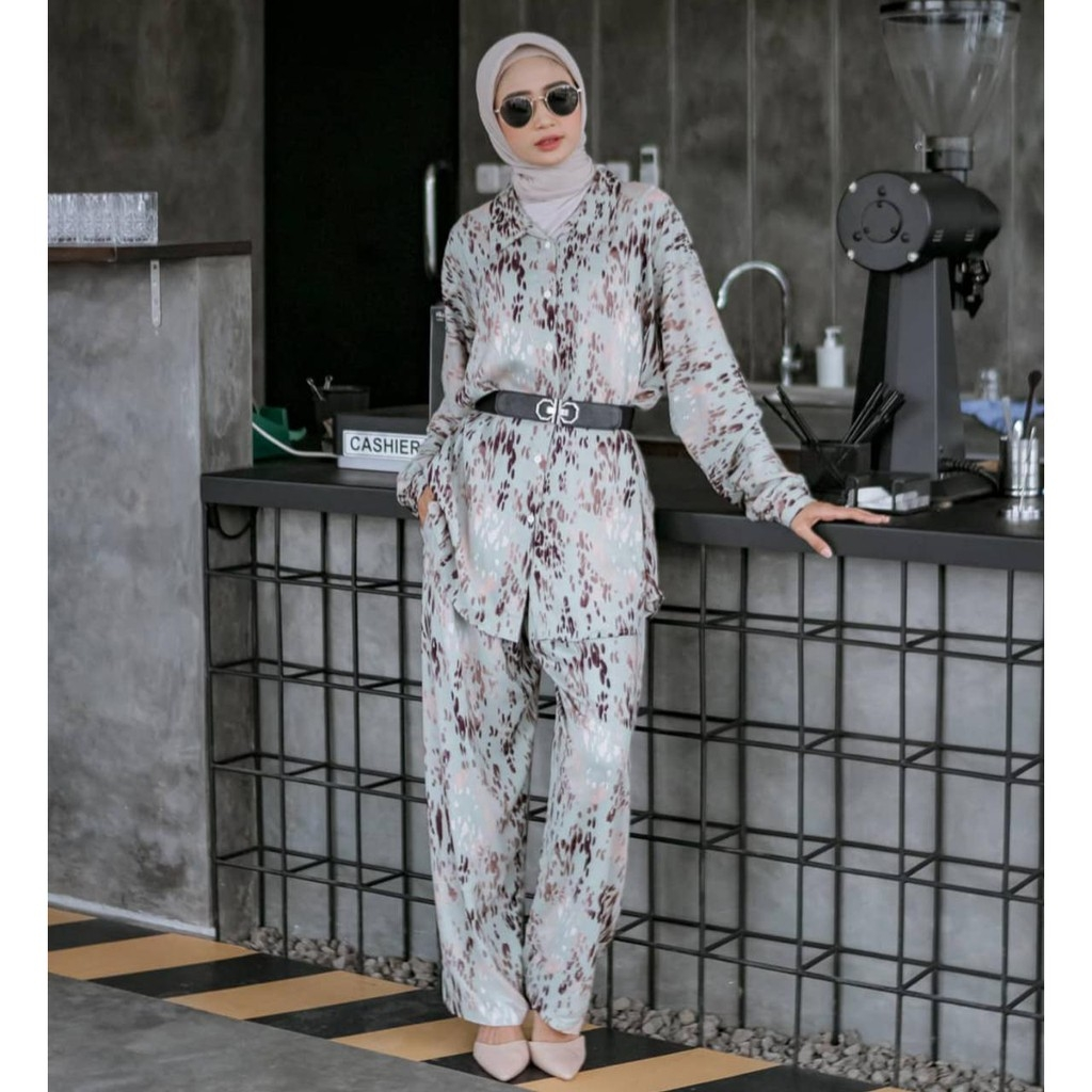 LEONY DAILY BASIC SET ATASAN CELANA RAYON PREMIUM HITS SELEBGRAM FASHION WANITA