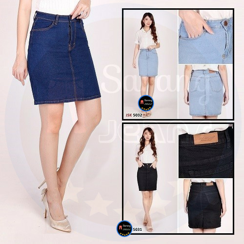 rok pendek polos skirt jeans rok stretch jumbo rok kerja kantoran formal big size  xxl jsk jeans