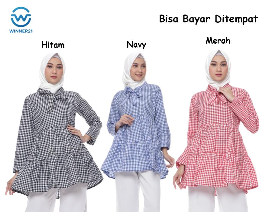 baju atasan wanita  2020 tunik wanita kekinian motif kotak-kotak bahan katun square th nadine tunic baju tunik baju muslim hijab muslim baju hijab tunik blouse long tunik blouse
