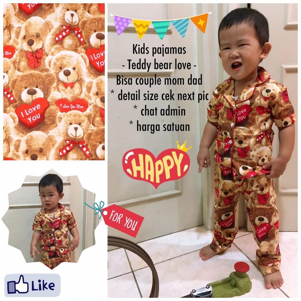 Review Piyama Anak Teddy Bear Love Red Kids Baju Tidur Pasangan Ibu
