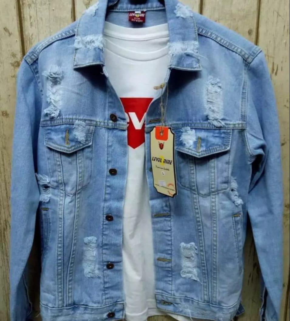promo/bayar tempaat/jaket levis pria bahan denim atasan casual fashion /jaket jeans pria // swf store