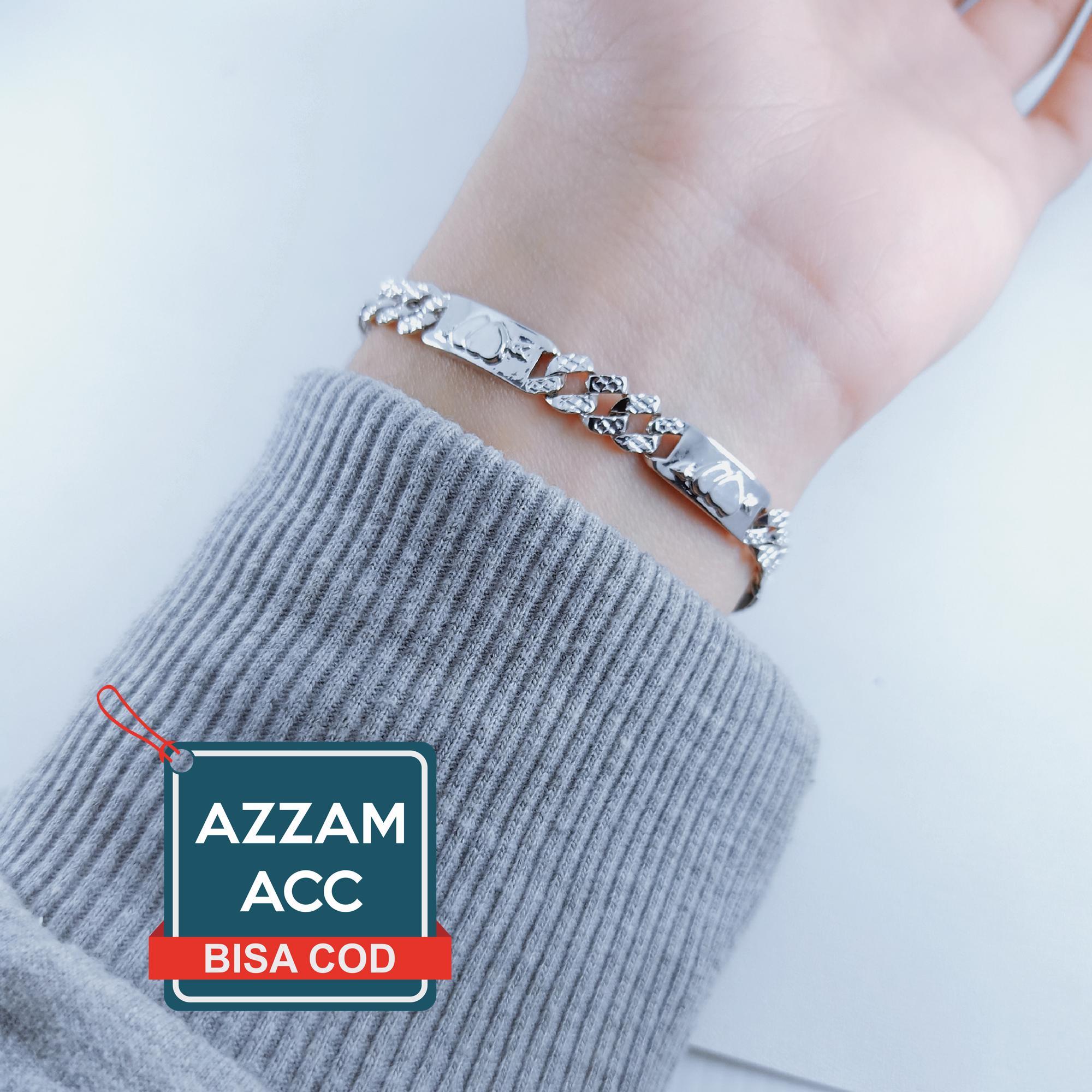 gelang plat rantai silver motif love hati 8 marcos