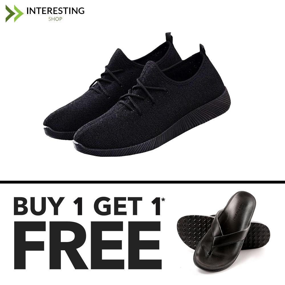 Sepatu Kets Wanita Import - Sepatu Sneaker Yz - Sepatu Sport Cassual Polos + FREE Sandal