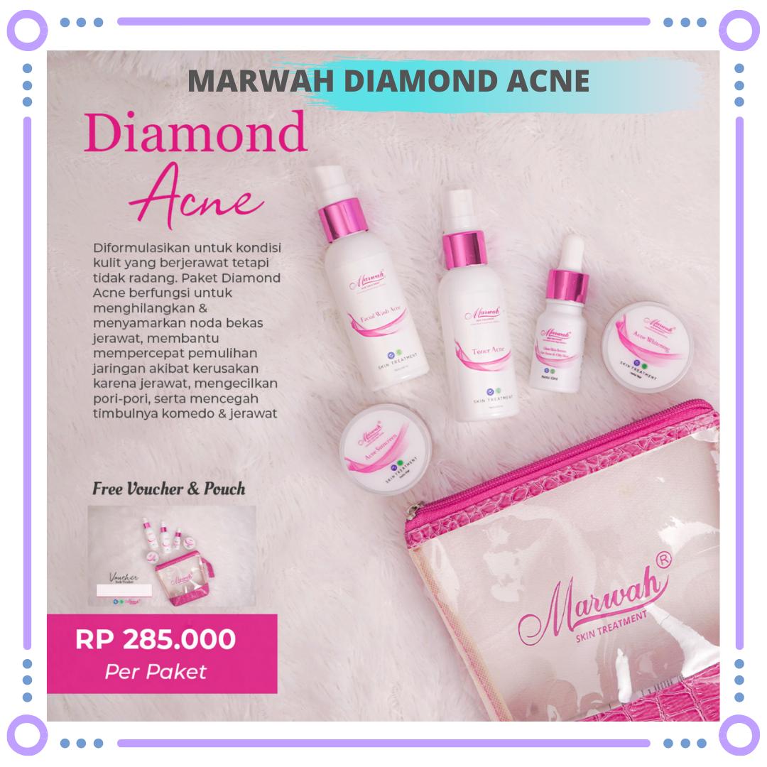 marwah diamond acne / skin care marwah paket cream diamond acne ori free pouch cantik + serum – jerawat beruntus berminyak berlebih mempercepat glowing