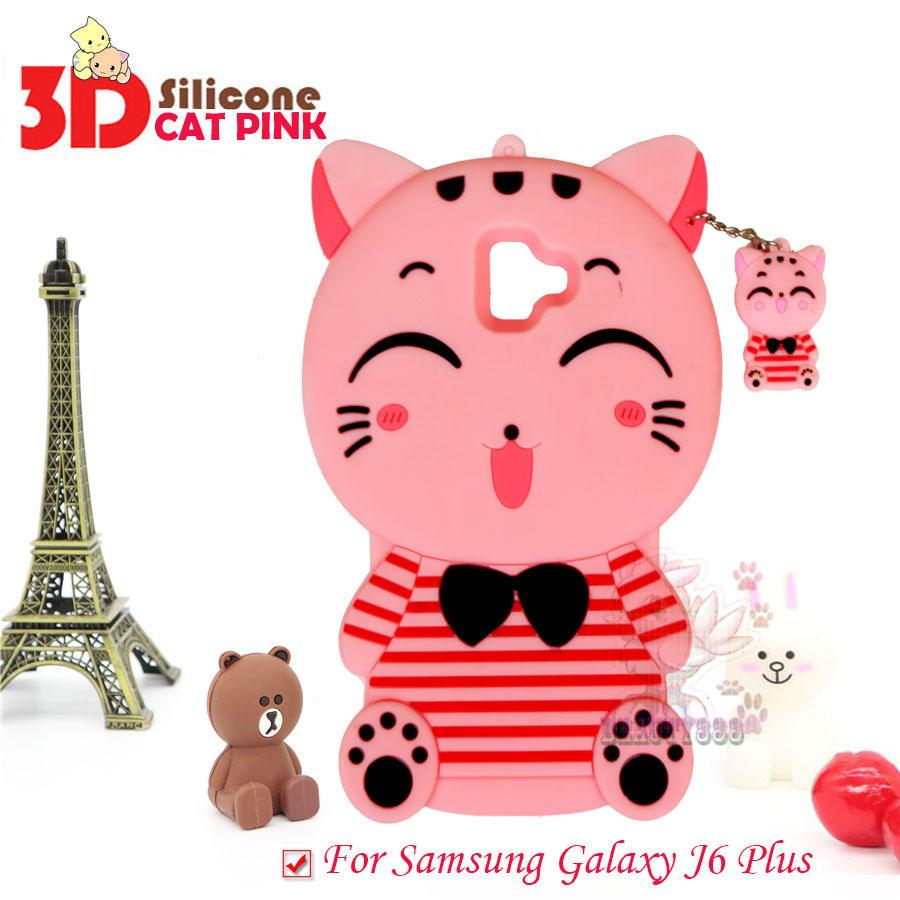 Beauty Pink Cat Case 3D For Samsung Galaxy J6 Plus 2018 Silicone 3D Silicone Ultrathin Jelly