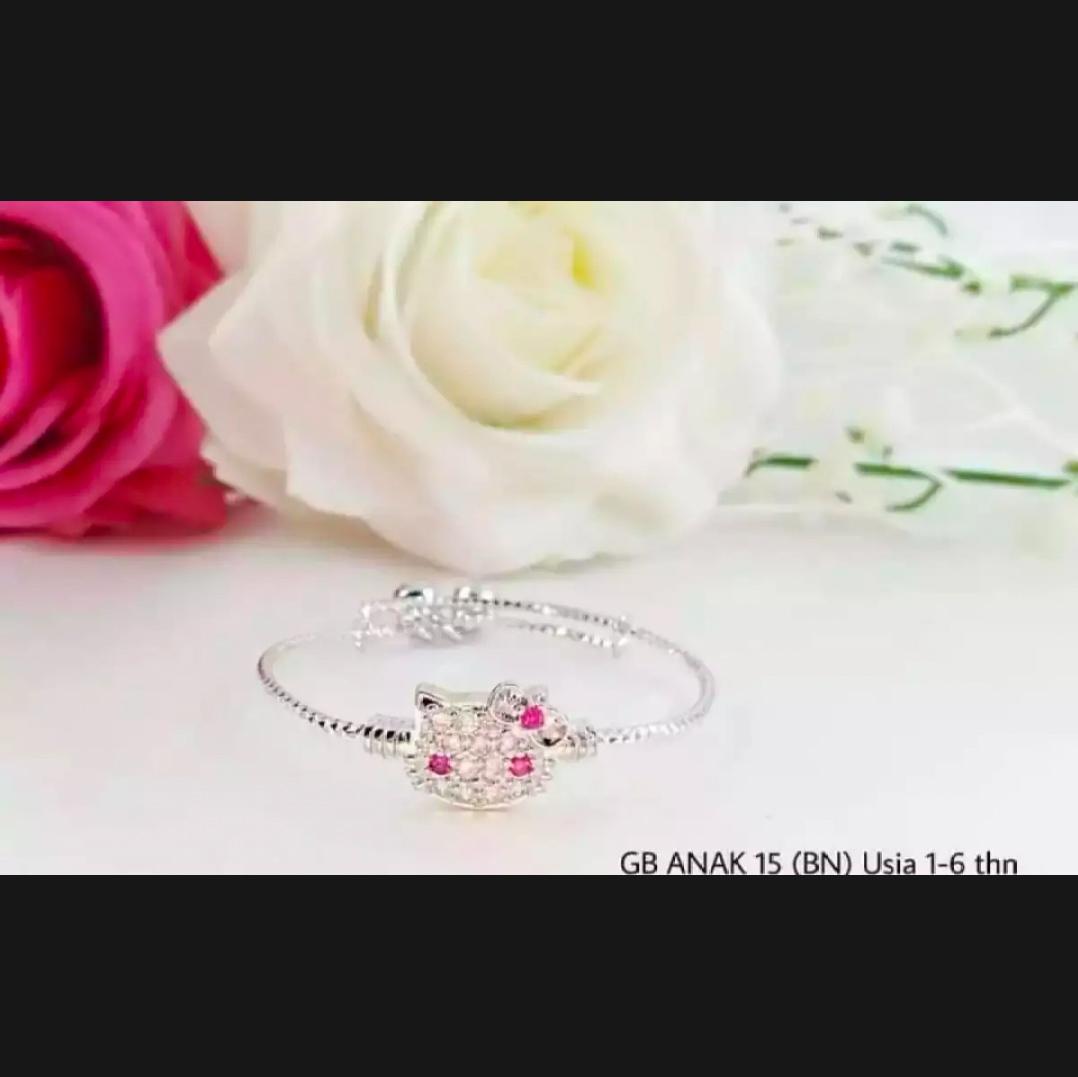 gelang anak perhiasan anak perempuan karakter kitty silver
