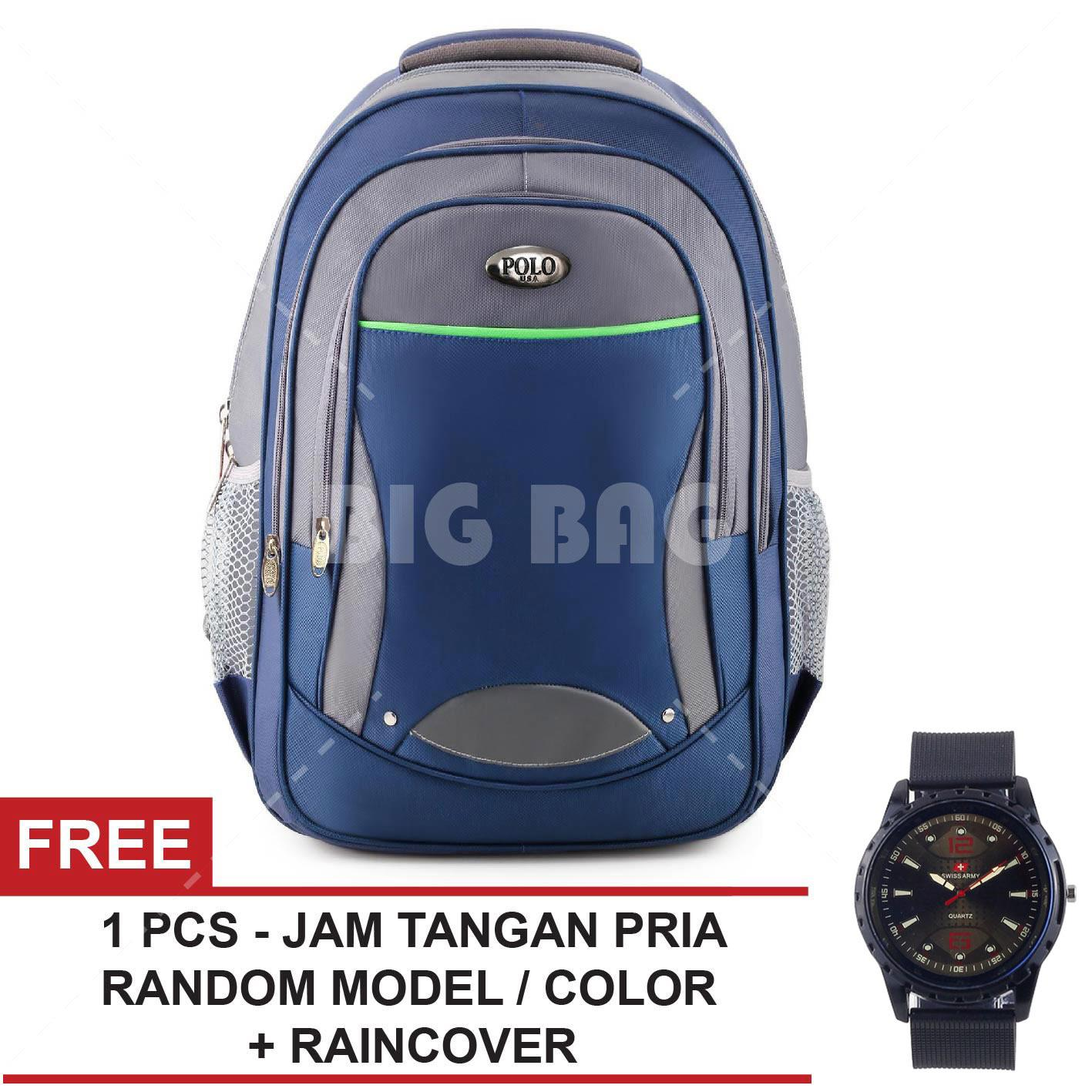 Tas Ransel Pria Polo USA Sheltered Dailypack Tas Laptop Casual Backpack +  Raincover + FREE Jam 7aa5827567