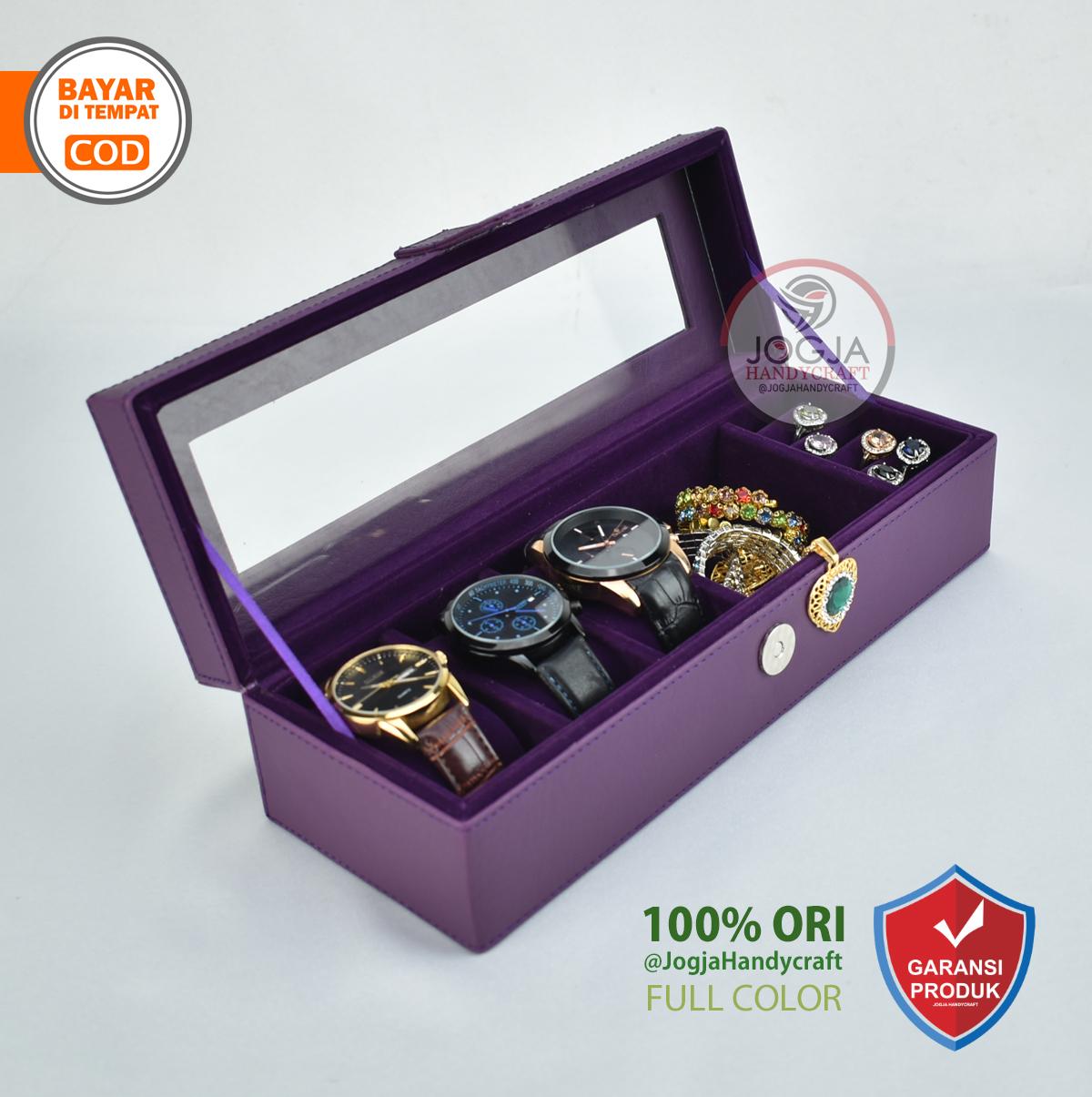 promo – kotak tempat jam tangan isi 3 + tempat perhiasan & aksesoris