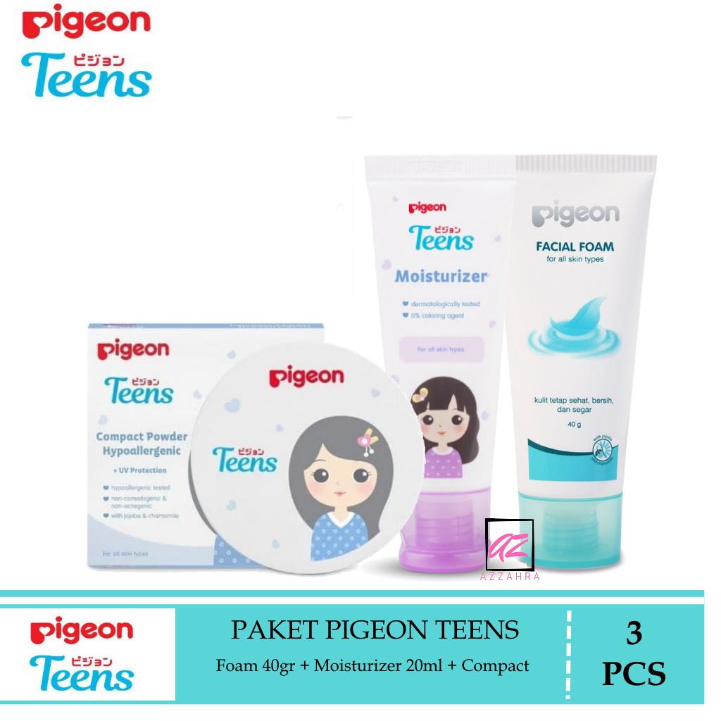 pigeon teens paket mini remaja 3pcs ( foam 40gr + moisturizer 20ml + compact powder )
