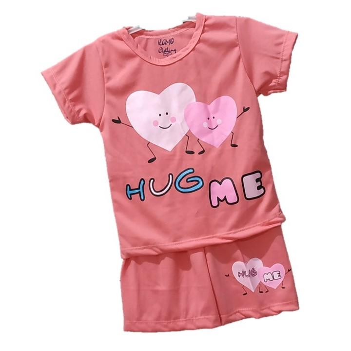 kayo clothing bisa cod baju kaos celana anak hug me size o s m l umur 0-4 tahun