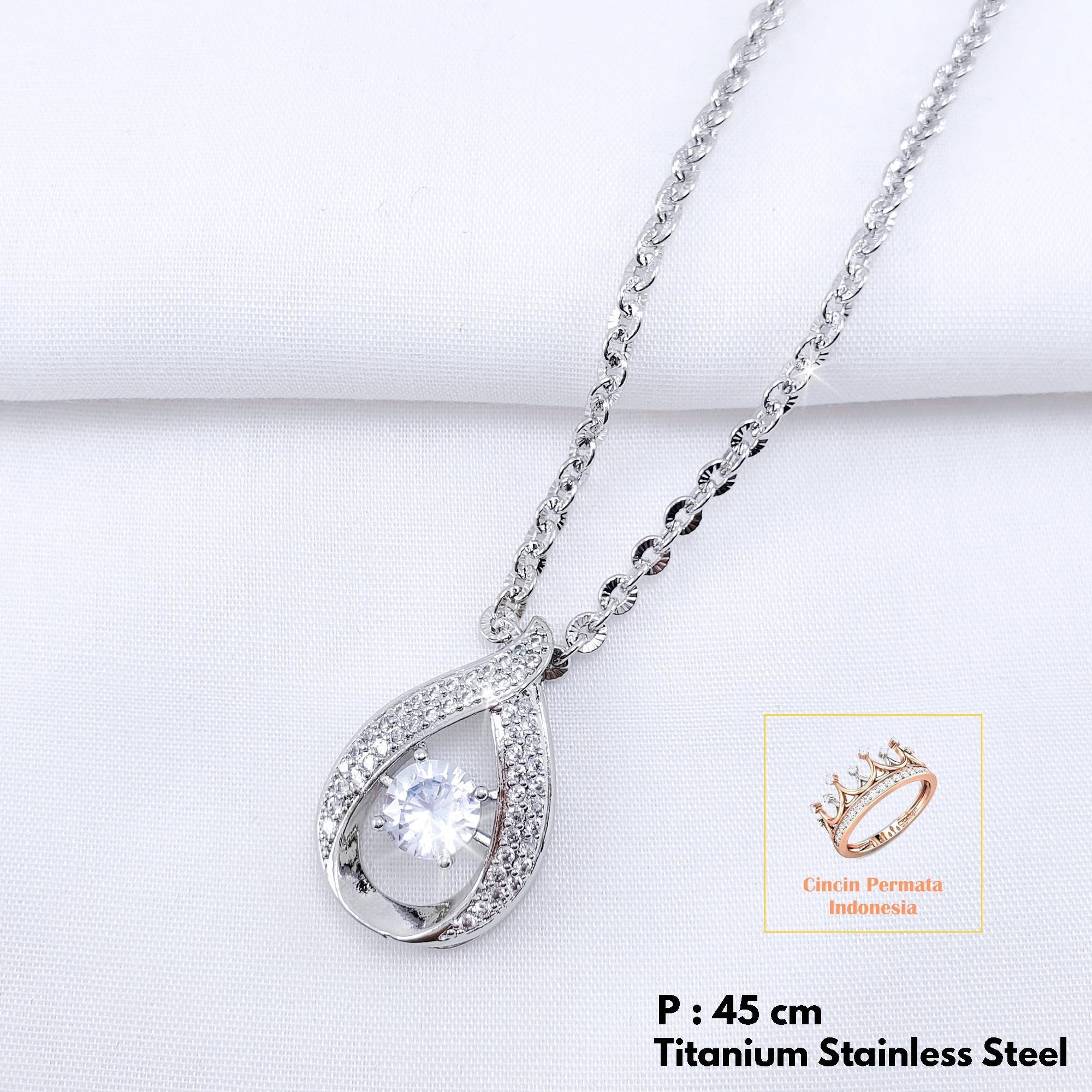 002 kalung nuri silver titanium 60cm anti luntur