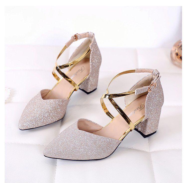 angel.id – sandal heels wanita bling-bling model tali kait menyilang dengan cantik – tipe hak tahu 5cm ukuran 36-40 bergaransi