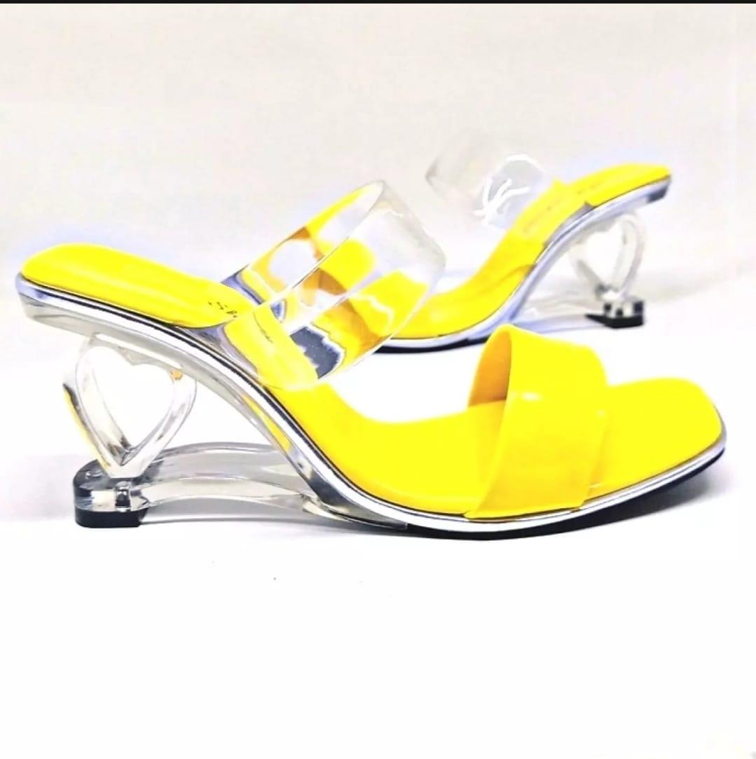 bayar tempat (cod) sepatu wanita import sandal heels kaca-high heels mika transparan sandal high heels kaca korea style  heels mika gigi by rosty