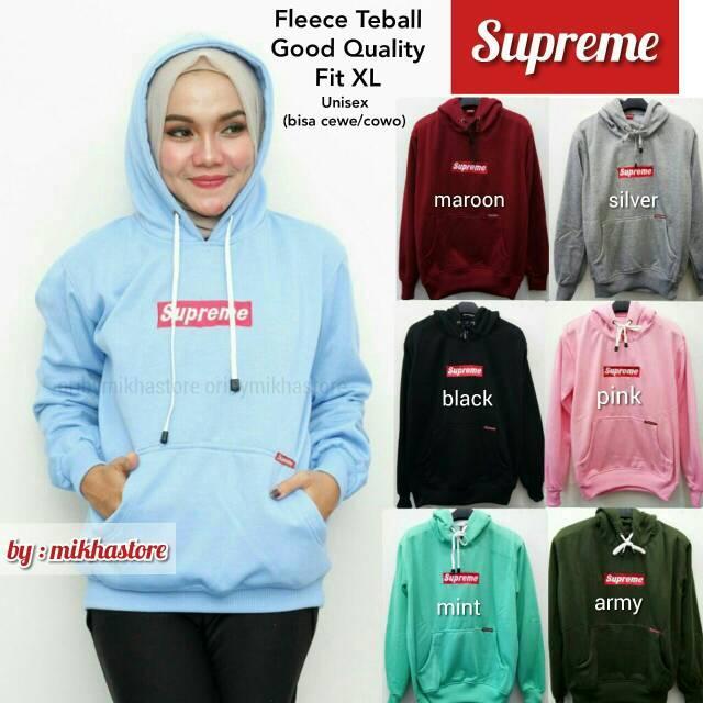MichelleStore Sweater Wanita Hoodie Supreme Kantung Baju - 5 Warna