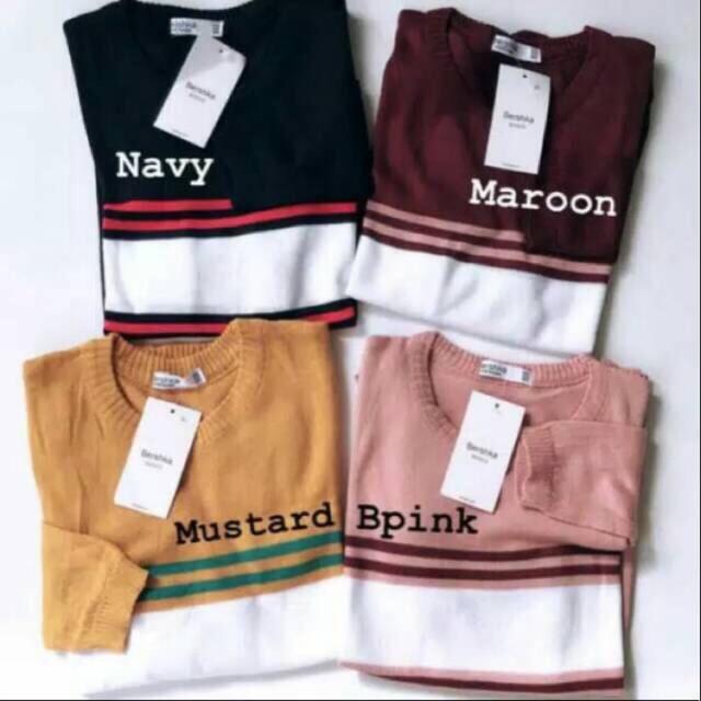 zstore88 atasan rajut wanita lena stripe – sweater rajut wanita