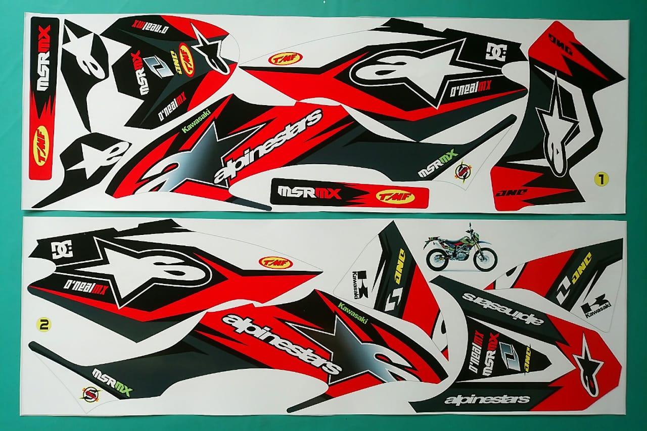 stiker striping motor klx bf alpinestar merah