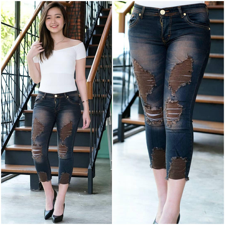 ✅cod mco – jeans wanita  – 7/9 sobek lapis brown washed – softjeans streach ripped – ukuran 27-34