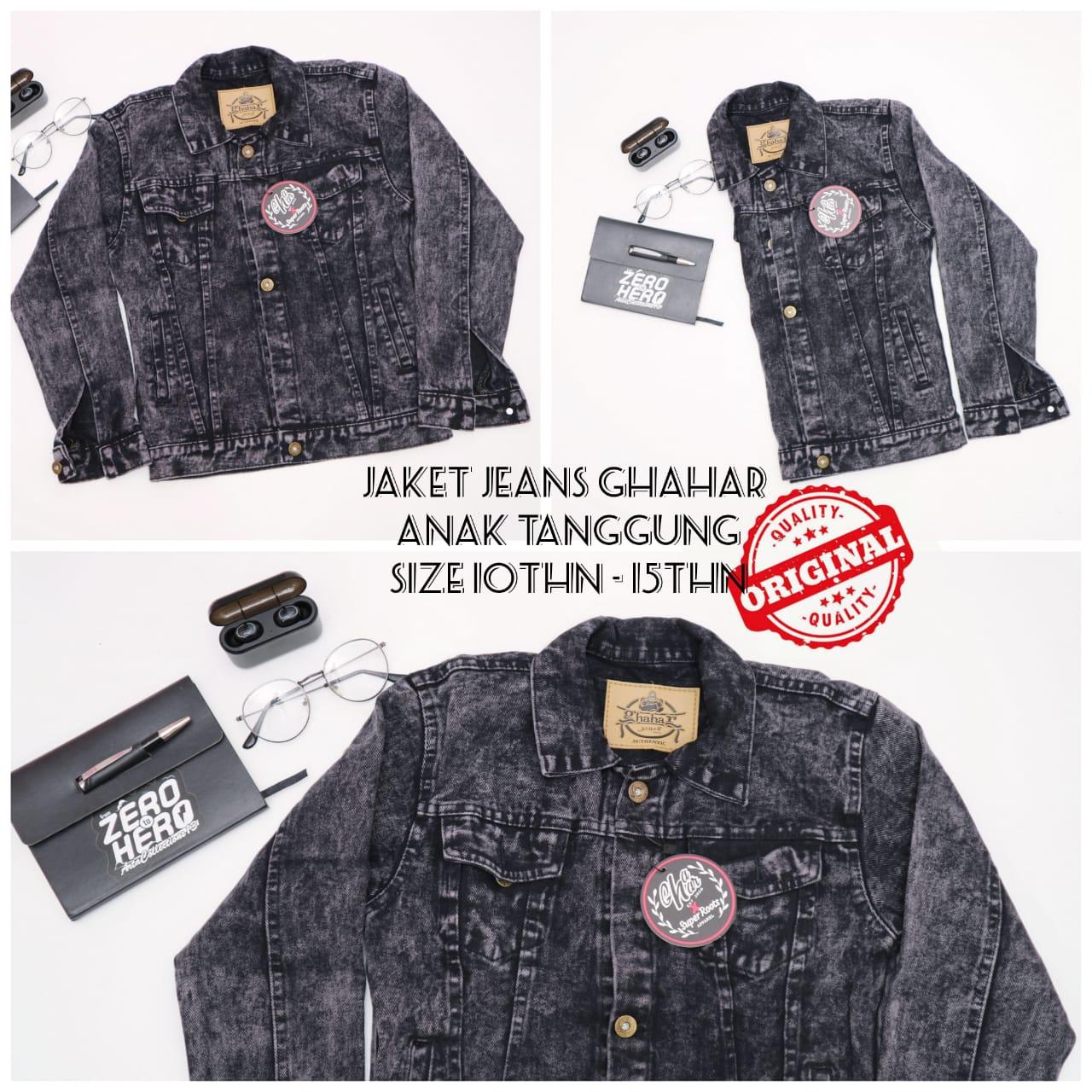 art -jaket jeans anak pria umur 10thn-15thn / jaket jeans sandwash ghahar anak tanggung