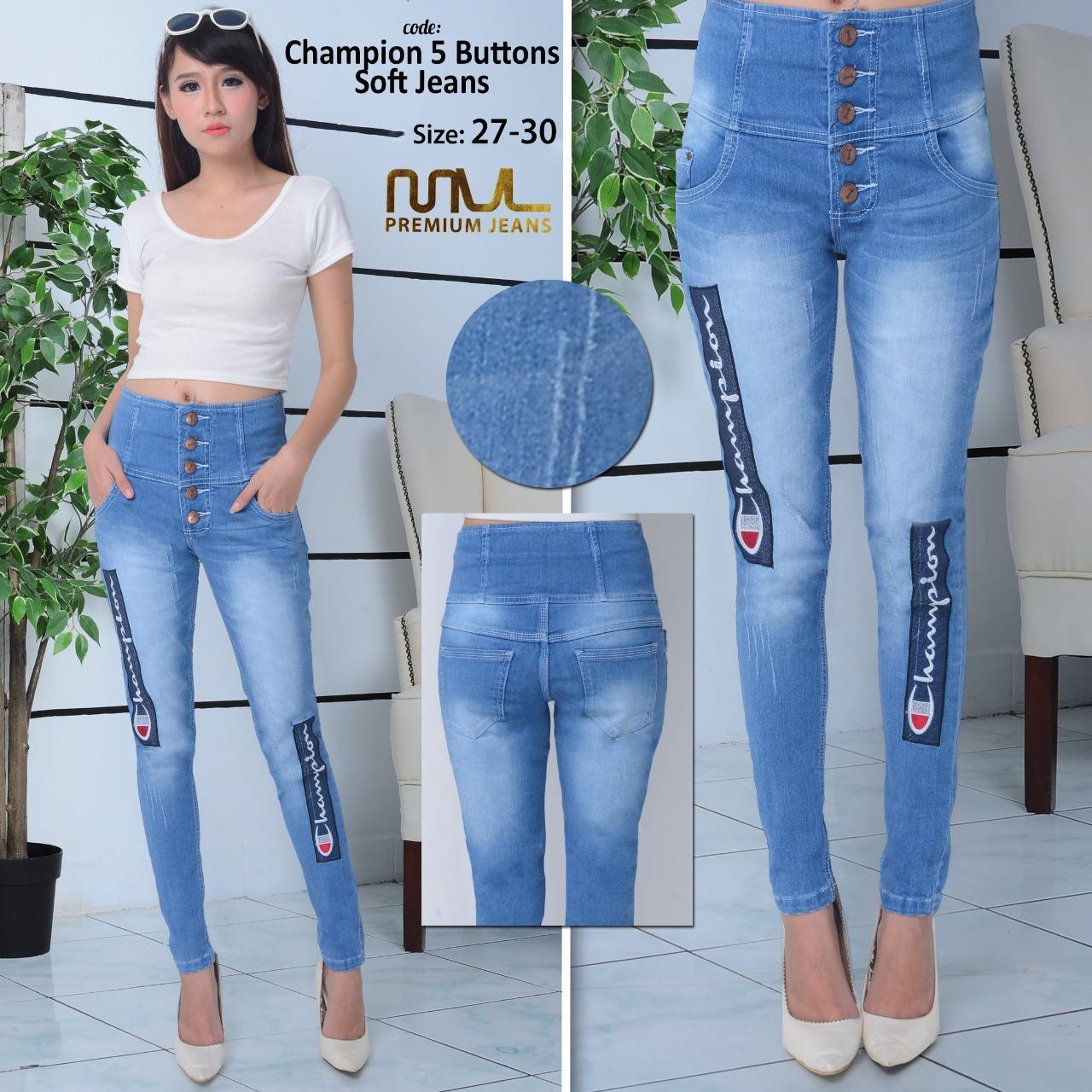 Features Ank Celana Jeans Panjang Highwaist Wanita Motif Kancing 5
