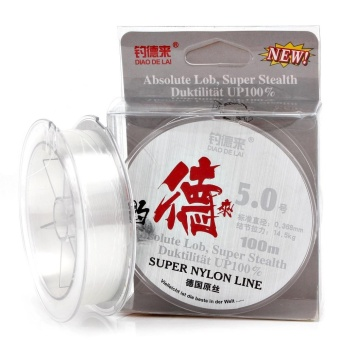 100M White Nylon Fishing Line 14.3-40.6LB Super Stealth Leader LineFly Fishing Line (Line#2.0) - intl