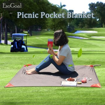 EsoGoal Pocket Blanket with Carry Bag Attached Multipurpose for Beach Picnic Outdoor and Travel Mat - intl