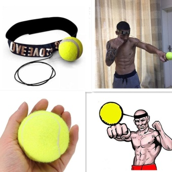Fight Elastic Ball with Head Band for Reaction Speed Training Boxing Punch Exercise Color:Yellow