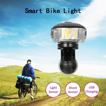 Harga Outdoor Cycling Bicycle Light Smart Sensor Warning Light Shock Sensor LED Front Lamp USB Rechargeable MTB Mountain Road Bike Night Riding Light Lamp - intl