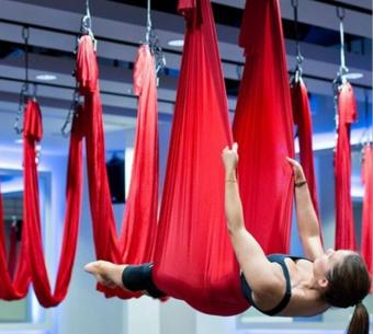 Harga Yoga Red Swing Fitness Aerial Yoga Slings Anti-gravity Hammock Yoga Belt Straps - intl
