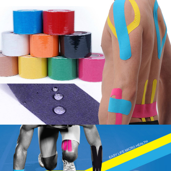 5 cm x 5 m pita kinesiologi olahraga Kinesio gulungan kapas elastis perban perekat ketegangan otot