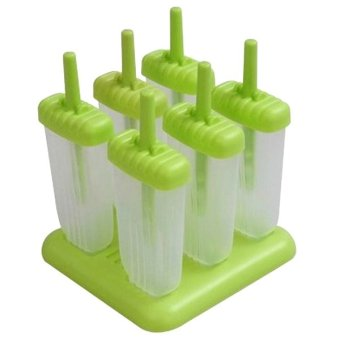 Harga 6-Cell Rectangle Shaped Reusable DIY Frozen Ice Cream Pop Molds Ice Lolly Makers with Base (Green)