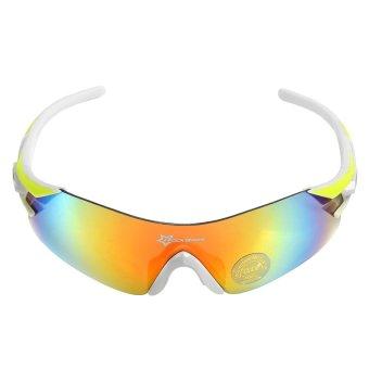 RockBros Polarized Cycling Glasses Three Interchangeable Lens (White/Yellow)