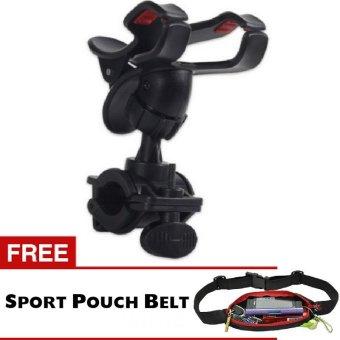 Trend's Sepeda - Phone GPS Holder Bicycle Hitam + Gratis Sport Pouch Belt