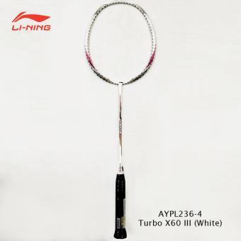 Li-Ning Badminton Racket Turbo X 60 III white tanpa free
