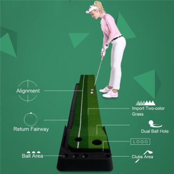 Indoor Berkualitas Tinggi Golf Practice Putting Mat Golf Putting Trainer Portable Golf Hijau Putter Trainer 3 M dengan Return Fairway -Intl