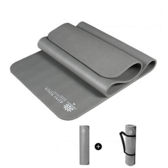 Matras Yoga 10mm anti selip yang panjang lebar tebal tahan lama(abu-abu)