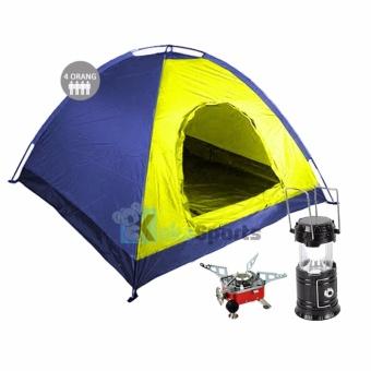 ... Hiking Dewasa Double Layer Kapasitas 3 4 Orang. Source · Maxxio Paket Camping Lengkap Tenda 4 Orang Kuning-Biru - Kompor Camping Mini - Lampu