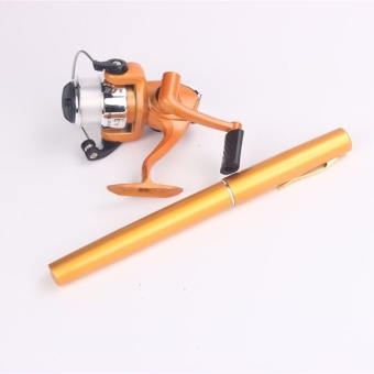 Mini Pocket Portable Fishing Pen Shape Aluminium Alloy Fishing Rod Pole Reel Gold-Intl