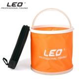 Gambar Produk Rinci Oranye Leo Kanvas Lipat Air Ember Portabel untuk Luar Ruangan Pancing Kemah dengan Tas Risleting-Internasional Terkini