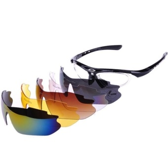 Ormano Sport Outdoor UV Protection G-Rider Sunglasses 5 Lensa - Hitam
