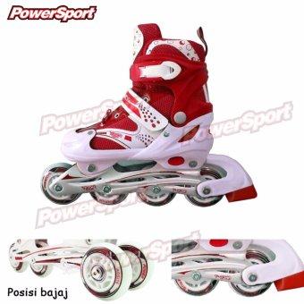 Power Sport Sepatu Roda in Line Skate 2 in 1 Adjustable Wheel - Merah S ( 24ee0a5036