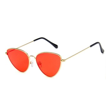 Retro Gaya Pilot Aviator Wanita Men Metal Frame Cat Eye Oval Besar Sunglasses-Intl