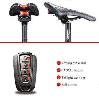 Mountain Bike LED COB Taillights Lampu Kabel USB Rechargeable Anti-Theft Alarm Peringatan dengan Electric