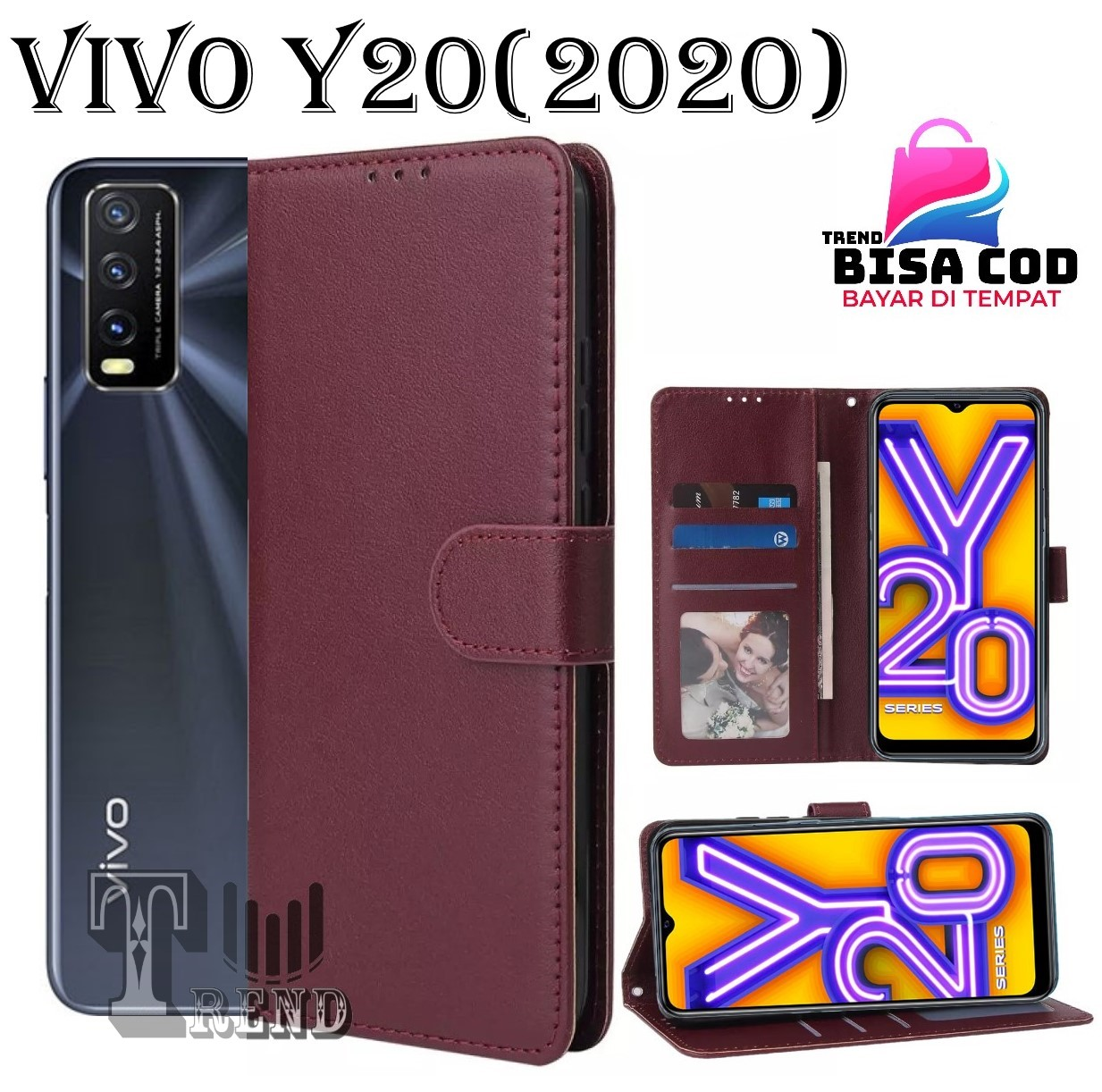 LEATHER CASE FLIP UNTUK VIVO Y20 (2020) -FLIP  WALLET CASE KULIT VIVO Y20 (2020) - CASING DOMPET-FLIP COVER LEATHER-SARUNG BUKU HP