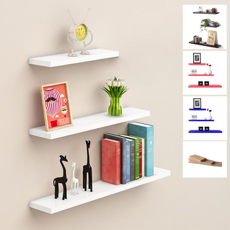 floating shelves ambalan dekorasi – rak dinding / rak buku minimalis set 3 pcs / 40x12cm – hitam